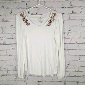 American Eagle Embroidered White Tee